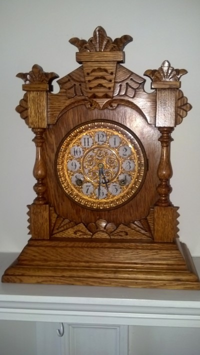 Ansonia Tivoli Oak Cabinet Clock With A Slow Gong Strike